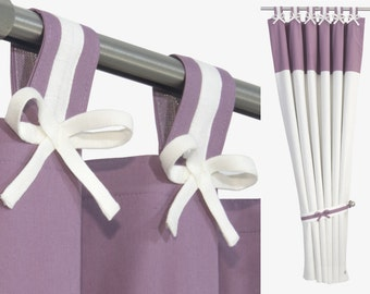 Pure Linen and Organic Cotton White Purple Baby Girl Nursery Curtain Panel with Bows, Tiebacks and Blackout Lining.Custom sizes and colours.