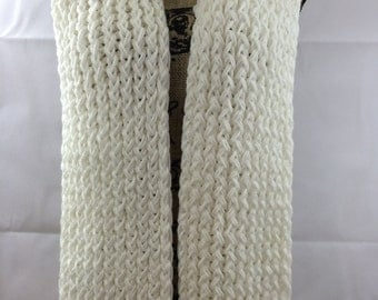 Scarf Handmade, Chunky Scarf, Cream Scarf, Knit Scarf, Crochet Scarf Ready to Ship