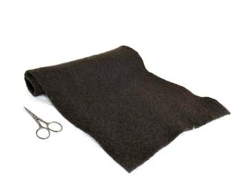 Boiled Wool Fabric - Brown Wool - 18 in x 12 in - Dark Brown Felted Wool - Wool Appliqué - Craft Wool - Brown Wool Fabric -  Espresso Brown