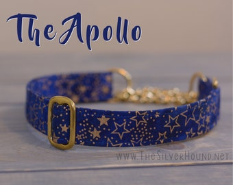 The Apollo Collar - Blue/Navy Batik with Gold Stars Pattern Fabric Dog Collar - Choose your width and hardware! - By The Silver Hound