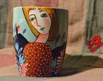 Cup, ceramic mug, hand-painted mug, mug gift