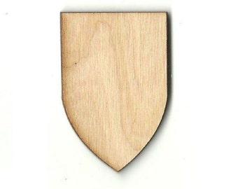 Banner Shield - Laser Cut Out Unfinished Wood Shape Craft Supply BNR25