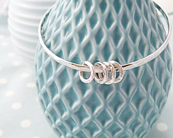 40th Birthday gift for her- 40th birthday gift ideas- 40th birthday gift for mum - silver bangle with rings - gift for 4 friends