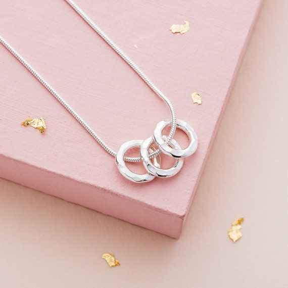 Three Silver Rings Necklace 30th Birthday Gift Third