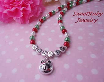 Personalized Little Bear Face Necklace - Kids/Little Girls - Many Animal Charms - Custom Design Avaialble