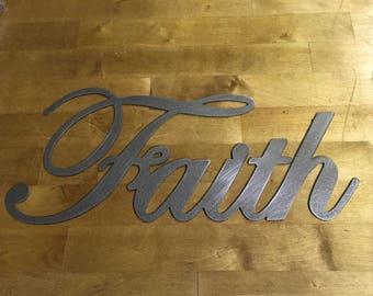Faith wall writing steel metal wall art
