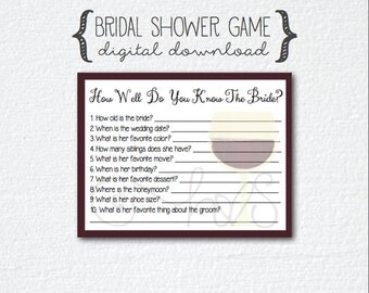 Wine Theme Bridal Shower Game - How Well Do You Know The Bride Questions