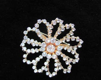 "Vintage Kramer ""Diamond"" Flower Brooch"