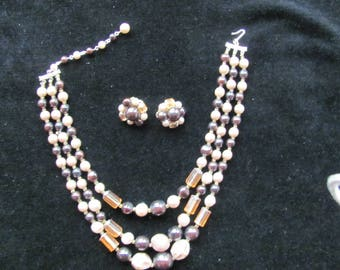 Multi-strand Vintage Necklace and Earrings