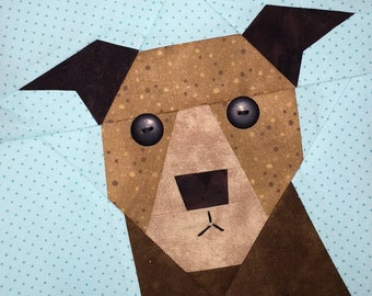 Pit Bull Paper Pieced Block Pattern in PDF
