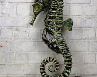 "XXL Seahorse Hippocampe Modernist Ceramic Wall Plaque era Tieberghien 23.62"""