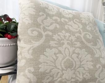 Linen floral pillow sham- Set of 2 vintage look washed taupe linen cushions- Natural linen pillow- Decorative pillow