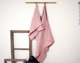 Linen dusty pink bath towel- Waffle textured sherbet rose linen towel- Softened linen travel towel- beach towel