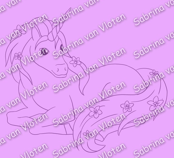 Flower Unicorn - digi stamp JPEG + PNG