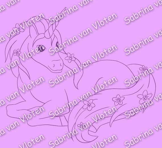 Flower Unicorn - digi stamp JPEG + PNG