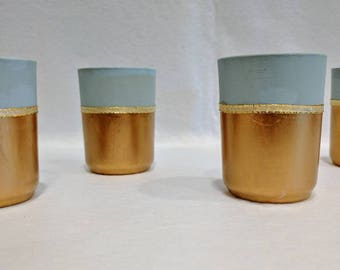 Mint & Gold Votive Candle holders