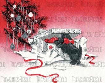 Retro Black Scottie Dog Opening A Present Christmas Card #611 Digital Download