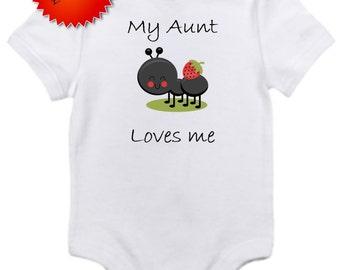 ON SALE My Aunt Loves me ant bodysuit onesie you pick size newborn / 0-3 / 3-6 / 12 / 18 month