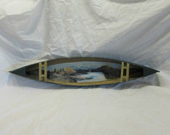 Tin Canoe, Wall Decor, Hand Painted Lake or River Scene