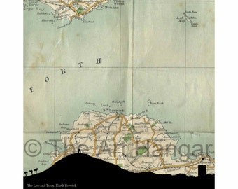 North Berwick Law & Town Old Map, Map Silhouette, Vintage, Giclée, Print, Best Seller, Map Print, Square, Gift, Gift for Him