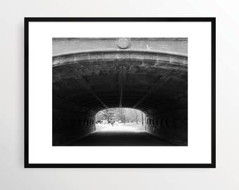 New York City Photography Print NYC Black and White B&W NY Art Urban Monochrome Manhattan Central Park Tunnel Street Bridge