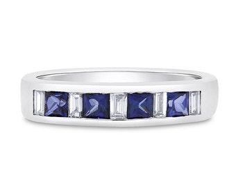 0.89 Ct. Natural Alternating Diamond & Sapphire Wedding Band 14k White Gold