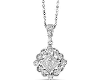 0.25 Ct. Natural Diamond Elegant Filigree Design Pendant In Solid 18k White Gold