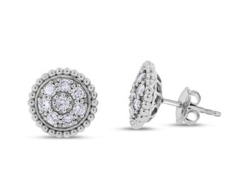 0.53 Ct. Natural Diamond Dome Flower Rounded Studs Stud Earrings In Solid 14k White Gold