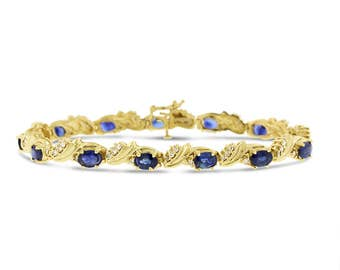 8.25 Ct. Natural Diamond & Sapphire Dressy Bracelet In Solid 14k Yellow Gold