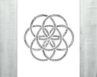 Zen Earth - Original Ink Drawing