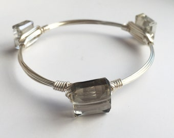 Smoky Gray Crystal Wire Wrapped Bangle, Crystal Wire Bangle, Wire Bangle, Wire Wrapped Bracelet, Wire Wrap Bangle