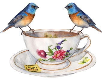 Watercolor Print Tea Party 8.5 x 11