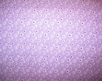 100 percent cotton fabric/purple/flowers/quilting/crafts/apparel