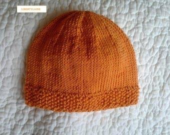 Birth to 1 month Cap 100% cotton orange.