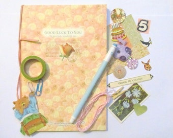 Journal starter kit: 70 plus pieces including journal, pen, vintage ephemera, tape and new embellishments Gift idea for crafters JJ18