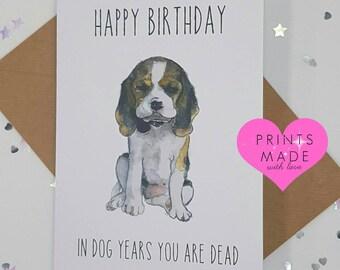Funny Birthday card Husband Wife Girlfriend Boyfriend 'In dog years you are dead' friend 30th 40th 50th 60th 70th