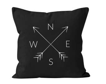 45 colors NSEW Compass Pillow Cover, North South East West Pillow Cover, Cardinal Directions Pillow Cover, Compass Arrows Pillow Cover