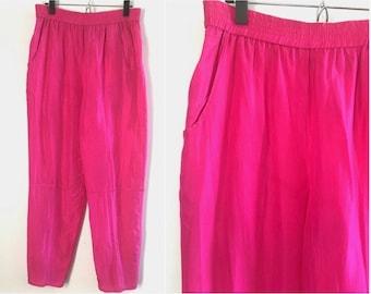90's Hot Pink Silk Pants M