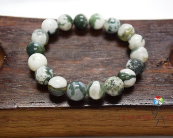 Tree Agate Bracelet Protection Against Negativity Bracelet Green & White Gemstone Bracelet Nature Bracelet Tree Agate Bracelet Chakra Mala