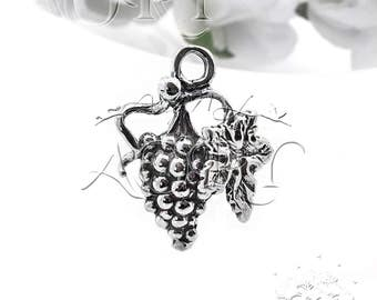 1pcs 925 Sterling Silver Bunch of Grapes Charm/Pendant, Top Quality, Size: 17.3x13.5mm, 9225as, Antique Silver Color, Made in Israel