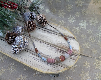 Agate, Rhodocrosite, and Czech Glass Necklace on Leather Cord