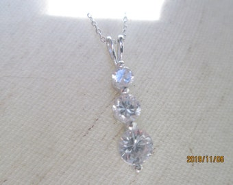 Vintage Beautiful Trio 925 CZ Gemstone Necklace with 19 Inch 925 Sterling Silver Chain, Wt. 2.6 Grams