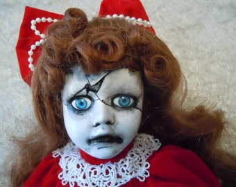 Small Creepy Doll in Red with Cracked Face #83 day of the dollies