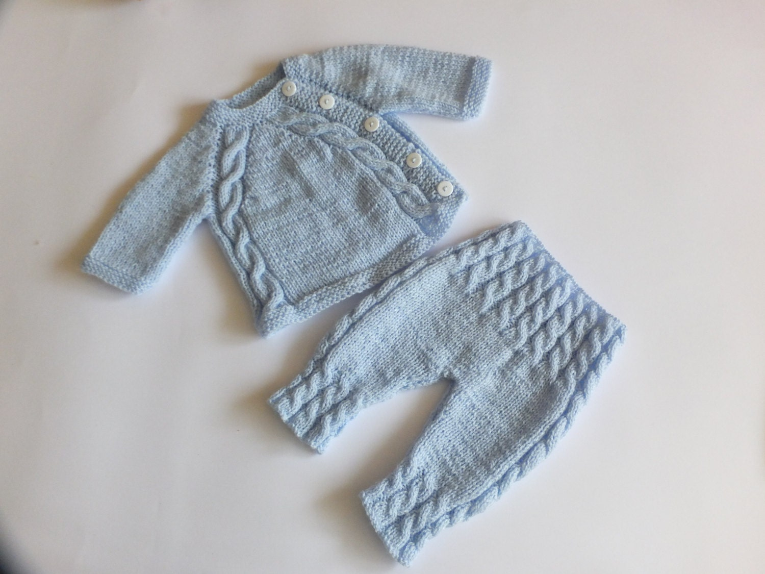 Baby boy sweater and pants - Hand knit baby clothes ...