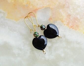 Black Onyx and Cloisonne Earrings,Black Earrings,Gemstone Earrings,Heart Shaped Earrings,Black Onyx and Golden Earrings