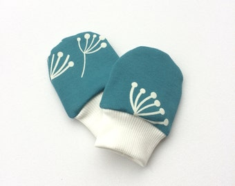 Petrol organic baby scratch mitts. Infant mittens with cuffs. Shower gift. Knit fabric with dandelions. Gender neutral no scratch mitts
