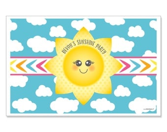 You Are My Sunshine - Personalized Placemats - Custom You Are My Sunshine Party Supplies - Disposable Personalized Paper Placemat - 12 ct.