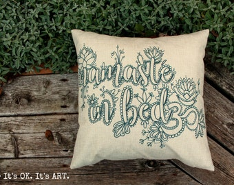 Namaste in Bed - Adult Coloring Pillow COVER ONLY-Mature, Throw Pillow, Decor Cushion, Pillow Slip, Couch Pillow, Cushion, Decor Pillow