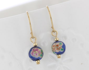 Gold filled  Hand Painted Blue Cloisonné Enameled Bead Dangle Earring, Cloisonné, Blue Bead, Flowers, Dainty, Darling, Vintage Inspired
