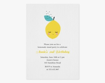 "Lemon Birthday Printable Invitation- Lemonade stand party- Digital file- 5""x7"", (BI-002)"